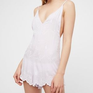 Free People Boo Yah Embroidered Festival Romper M